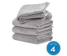 iDesign 4er-Set Handtücher, kleines Handtuch mit gewebter Verzierung aus Baumwolle, weiches und saugfähiges Handtuch Set mit Aufhänger für Waschbecken und Gäste-WC, grau