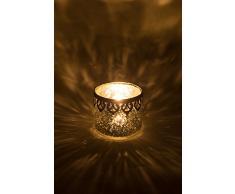 Home&Decorations 2er Set H&D Original Windlicht Teelichtglas Silber Antiker Windlichthalter Kerzenglas Glasvase Windlichtglas Laterne Glas Vase Kerze Ø10 cm ×H 8.5 cm