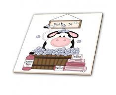 3dRose CT 211152_ 7niedliche schwarz & weiß Kuh in eine Badewanne Glass Tile, 20,3cm