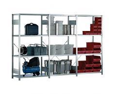 META 1370051 Lagerregal mit 4 Böden, 150 Clip Set, Grundregal 2000 mm x 1000 mm x 600 mm, Verzinkt