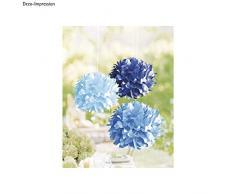 Rayher 87096000 Papier-Pompoms, 35cm ø, Blau-Töne, 3 Stück, Partydekoration