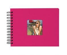 Goldbuch Spiralalbum mit Bildausschnitt, Living, 24x17 cm, 50 schwarze Seiten, Hochwertiger Einband aus Strukturpapier in Leinenoptik, Pink, 20 197
