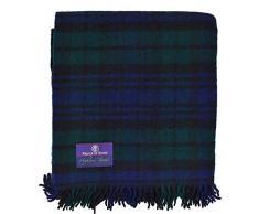 Prince of Scotts Highland Tartan Tweed Überwurf, 100 % reine Schurwolle, flauschig schwarz/schottenmuster