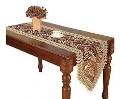 Burgund Lace Läufer und Dresser Schals bestickt beige Leaf, burgunderfarben, 16*108 Inch
