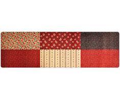 deco-mat Hochwertiger Designer Teppich für Wohnzimmer, Kinderzimmer, Flur, Bad, Innen und Außen-Bereich | Rutschfester und waschbarer Teppich-Läufer – ROT BEIGE 80 x 250 cm