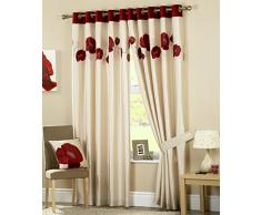 Curtina Danielle Vorhang mit Ösen Vorhang, gefüttert, 117x 137cm, Rot, Textil, rot, 90x54 (229 x 137 cm)