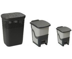 DEA HOMEART002A Set 3 Stücke Wäschekorb Rattan Linen Basket 60 mit Tretabfalleimer Rattan Bin 18 und Tretabfalleimer Rattan Bin 6, 44 x 35 x 60 cm, grau