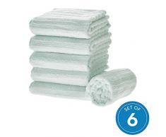 iDesign 6er-Set Handtücher, kleines Handtuch mit Streifenstruktur aus Baumwolle, weiches und saugfähiges Handtuch Set mit Aufhänger für Waschbecken und Gäste-WC, hellblau