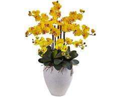 Nearly Natural 1420-YL Phalaenopsis Orchideen-Arrangement aus Seide, mit weißem Übertopf