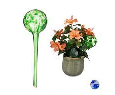 Relaxdays Bewässerungskugel 2er Set, dosierte Pflanzen Bewässerung, Blumentopf, Gießhilfe Büro, Urlaub, Glas Ø 9cm, grün, 2 Stück