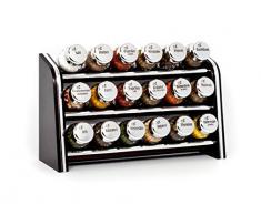 Gald Gewürzregal, Küchenregal für Gewürze und Kräuter, 18 Gläser, Holz, Venge (schwarz)/glänzend, 30.5 x 20.5 x 10.5 cm