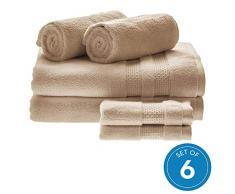 iDesign 6er-Set Badtextilien für das Badezimmer oder Gäste-WC, weiches Handtücherset aus 100% Baumwolle, Handtuch Set mit je 2 Handtüchern, Badetüchern & Waschlappen, beige
