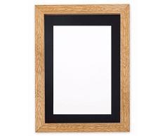 Montiert Breite Konfetti Holz Rahmen Range Fotorahmen | Bilderrahmen | Poster-m-wd-cnfeti-rnge-2-parent, Oak with Black Bespoke Mount, 6x6 for 4x4 Pictures