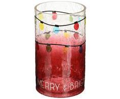 Pavillon – Weihnachtslicht Ombre Rot Crackled Glas Hurricane großer Kerzenhalter 20,3 cm – Merry & Bright