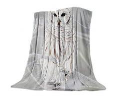 GreaBen Super weiche Bettdecke Flanell Fleece Überwurf-Decken für Damen Herren Strand Seestern und Muschel Prints, Decken für Schlafzimmer, Wohnzimmer, Bett, Sofa, Couch, 59x79inch=150x200cm Owl2gbn7251