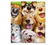 Dawhud Direct Fleecedecke für Queen-Size-Bett, superweich, ca. 190,5 x 228,6 cm 75 x 90 Dogs Selfie