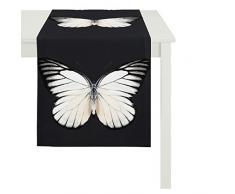 APELT Papillon 45x135 Fb. 89 Tischläufer 45 x 135 cm, Schmetterling,Schwarz/Weiß