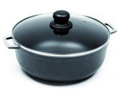 IMUSA USA GAU-80665 4.8Qt Black Nonstick Caldero with Glass Lid and Steam Vent (Dutch Oven), 4.8-Quarts,