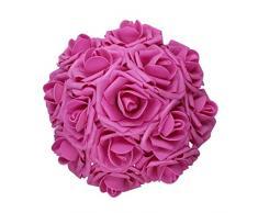 AnParty 50 Künstlichen Blume , Real Touch Schaumstoff-Rosen Dekoration DIY für Hochzeit Brautjungfer Bridal Bouquet Aufsteller Party Hot Pink