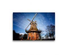 Calvendo Premium Textil-Leinwand 45 cm x 30 cm quer Windmühle in Bad Zwischenahn   Wandbild, Bild auf Keilrahmen, Fertigbild auf echter Leinwand. am Zwischenahner Meer Natur Natur
