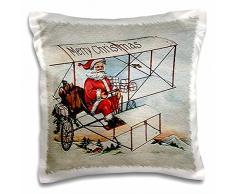 3dRose PC 172719 _ 1 Merry Christmas Santa Flying A Vintage Box Kite Flugzeug Bild Kissen Fall, 40,6 x 40,6 cm