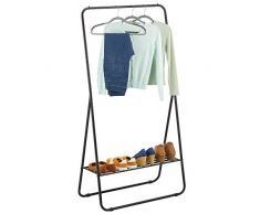 mDesign Kleiderstange – tragbarer Kleiderständer für Schlafzimmer, Schrank oder Eingangsbereich – praktischer Garderobenständer aus robustem Metall – Mattschwarz