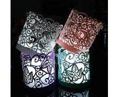 cozyt 50 Stück Packungen Papier Votivkerze Teelichthalter-Laser-Cut für Deko Hochzeit Party violett