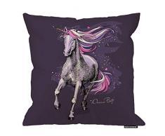 HGOD Designs Kissenbezug Pferd, magisches violettes Einhorn mit einem hellrosa Sternenmähne Baumwolle Leinen Polyester Dekorative Heimdekoration Sofa Schreibtisch Stuhl Schlafzimmer 40,6 x 40,6 cm 18x18 Inch A5-0097