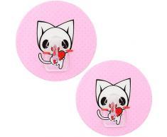 mumbi Handtuchhalter selbstklebend Handtuchhaken (ohne Bohren, Klebehaken) mit Motiv Katze (2-er Set)