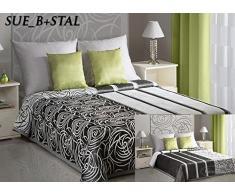 Eurofirany Tagesdecke Polyester-Baumwolle Grey/White 220 x 240 x 1 cm