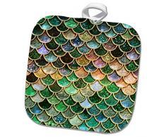 3dRose phl_272867_1 Topflappen, Meerjungfrauen-Design, glitzernd, 20,3 x 20,3 cm, mehrfarbig