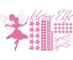 Graz Design 770089_100x57_045 Wandtattoo Set Kinderzimmer Mädchen Spruch kleine Elfe mit Blumen 100x57cm Hellrosa