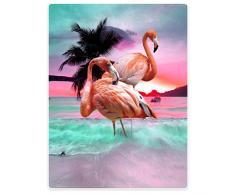 TSlook Überwurf, Fleece Decken Decke für Sofa Bett Beautiful Flamingo Beach Sea, Flanell, rose, 152 x 203 cm