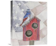Global Galerie Elyse DeNeige Americana Vogelhaus II Leinwandbild, 40,6 x 50,8 cm