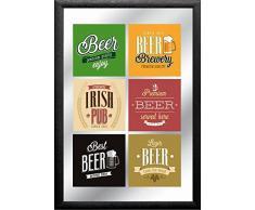 empireposter - Beer - Labels - Größe (cm), ca. 20x30 - Bedruckter Spiegel, NEU - Beschreibung: - Bedruckter Wandspiegel mit schwarzem Kunststoffrahmen in Holzoptik -