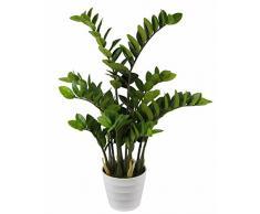 Flair Flower Kunst Blumen, Pflanzen Künstlicher Tropenwurz Zamioculcas Glücksfeder im weissen Topf, Kunststoff, Grün, 90 x 22 x 22 cm