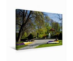 CALVENDO Leinwand Stadtpark mit Pavillon 45x30cm, Special-Edition Wandbild, Bild auf Keilrahmen, Fertigbild auf hochwertigem Textil, Leinwanddruck, kein Poster