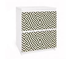 Apalis 91083 Möbelfolie für Ikea Malm Kommode - Selbstklebe Geometrisches Design, größe 2 mal, 20 x 40 cm, braun