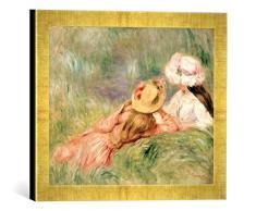 Gerahmtes Bild von Pierre Auguste Renoir Young Girls on The River Bank, Kunstdruck im hochwertigen handgefertigten Bilder-Rahmen, 40x30 cm, Gold Raya