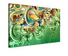 LANA KK - Leinwandbild Curvature Grün abstraktes Design auf Echtholz-Keilrahmen – Fotoleinwand-Kunstdruck in grün, einteilig & fertig gerahmt in 60x40cm