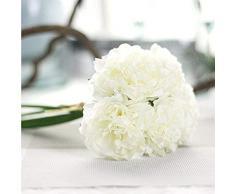 Künstliche Pfingstrose Blumen Sträuße Seide Fake Blumen Blatt für Hochzeit, Party, HOME Dekoration elfenbeinfarben