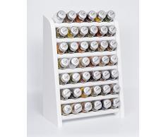 Gald Gewürzregal, Küchenregal für Gewürze und Kräuter, 42 Gläser, Holz, Weiß/matt, 31.5 x 47 x 17 cm