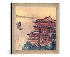 Gerahmtes Bild von Chinesische Malerei Pavillon der himmlischen Melodien/um1000, Kunstdruck im hochwertigen handgefertigten Bilder-Rahmen, 30x30 cm, Silber raya