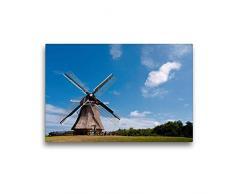 Premium Textil-Leinwand 45 x 30 cm Quer-Format Windmühle in der Nähe von Nes   Wandbild, HD-Bild auf Keilrahmen, Fertigbild auf hochwertigem Vlies, Leinwanddruck von Michael Bücker