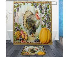 Happy Thanksgiving Day Wasserdicht Polyester Stoff Vorhang für die Dusche (152,4 x 182,9 cm) Set mit 12 Haken und Bad-Teppiche Teppiche (59,9 x 39,9 cm) für Badezimmer – Set von 2, Polyester-Mischgewebe, Multi3, 60