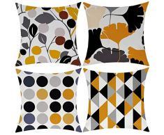 Orange Buffalo Karo Überwurf Kissenbezug Farmhouse Kissenbezug beidseitig bedruckt, stabile, langlebige Baumwolle Leinen, einfach zu waschen für Sofa Couch Wohnzimmer 45x45cm/18x18inch Kompass Floral Navy Blue
