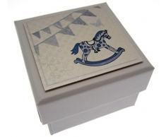 WHITE COTTON CARDS Geschenkbox Mini, Motiv: Schaukelpferd und Wimpelkette, Blau