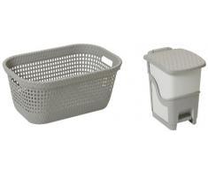 DEA HOMEART003G Set 2 Stücke Wäschekorb Rattan Laundry Basket 45 und Tretabfalleimer Rattan Bin 6, 62 x 42 x 28 cm, grau