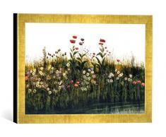 Gerahmtes Bild von Andrew Nicholl Poppies, Daisies and Thistles on a River Bank (Pair of 85964), Kunstdruck im hochwertigen handgefertigten Bilder-Rahmen, 40x30 cm, Gold Raya