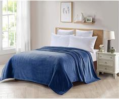 ForenTex Decke für Sofa und Bett, Flanell, 300 g/m², fusselfrei, fusselfrei, weich, warm, Verschiedene Größen und Farben X-3099, Blau, 220 x 240 cm, 2 Stück
